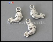 5 Silver FISH Charm Dangles - 16mm Trout Fishing Marine Ocean Sea beach Pendant Charms - Instant Ship - USA Discount Charms - 6197