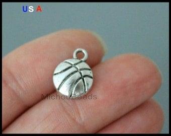 1 BASKETBALL Charm Pendants - 13mm Silver Ball Sport Pendant Charm - Basketball Charm - Instant Shipping - USa Discount Charms - 6022
