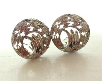 Vintage Swirl Silver Clip Earrings 50's (item 198)