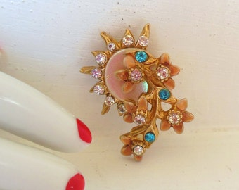 Vintage Rhinestone Enamel Mother Of Pearl Sun Flowers Gold 50's (item 235)