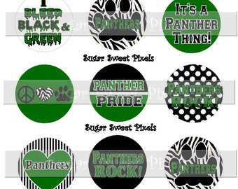 INSTANT DOWNLOAD Green  Black Panthers School Mascot 1 inch circle Bottlecap Images