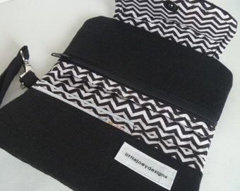 Black and White Chevron Phone/Carryall Clutch