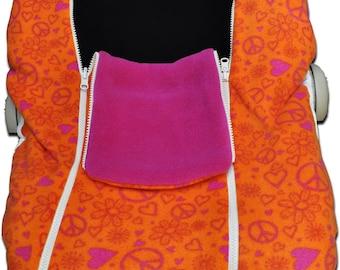 BLOW-OUT Sale!  NUZZLER, Peace print/Raspberry - Infant Car Seat Cover, Warm Polartec 200 - Reversible