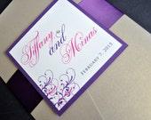 Pocket Wedding Invitations, Pocketfold wedding invites, Wedding Invitations, Purple Weddings, Gold and Purple Wedding