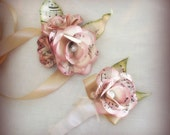 Vintage music paper flowers, customized corsage with matching boutonniere