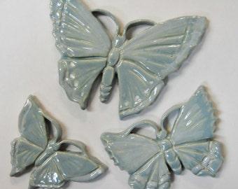 Handmade Ceramic Tiles BUTTERFLY Sky Blue  Set of 3