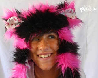 "Fuzzy Monster Aviator hat, ""Pink n Black Stripes"" Plushie, Kawaii Skulls lining, hot pink & black, earflap hat,  raverwear"