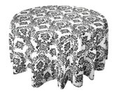 "SALE!! Black and White Flocked Tablecloth -120"" Round - WAS 12.00"