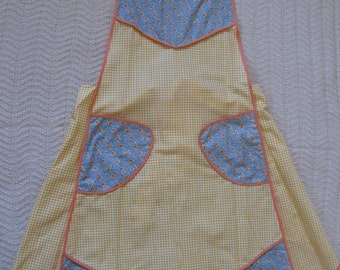 Yellow and blue cotton apron