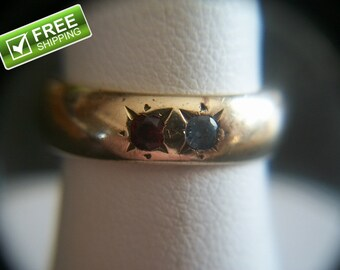 Estate Find Vintage 14K Gold Band with 2 Gems Ring Size 5 Weights 5 Grams