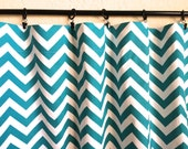 Turquoise Chevron Curtain Panels 50x63, 50x84, 50x96 inches Zig Zag Drapes. Window Treatments. Blue Chevron Curtains
