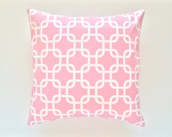 IMPERFECT 60% Off Clearance Decorative Pillow Cover - Sold As Is - Baby Pink Decorative Couch Pillow Cover. 18x18 Inch Chain Link