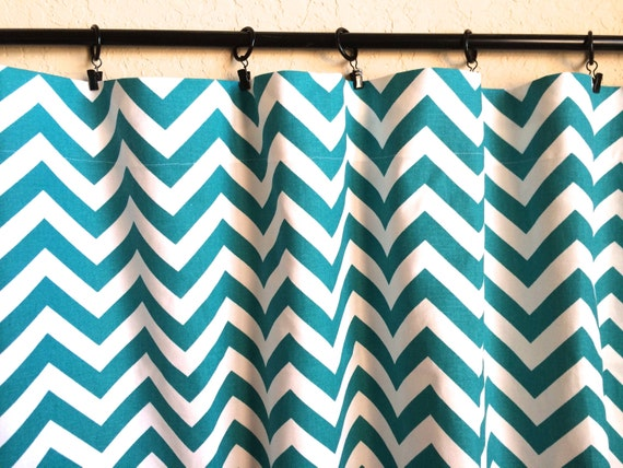 items similar to turquoise chevron curtain panels 50x63 50x84 50x96 inches zig zag drapes. Black Bedroom Furniture Sets. Home Design Ideas
