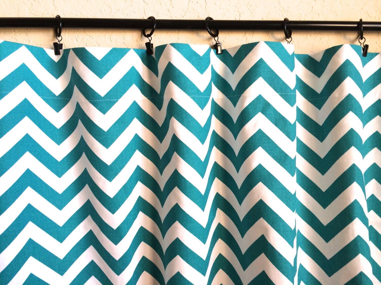 Turquoise chevron curtain panels 50x63 50x84 by thebluebirdshop
