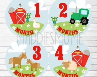 Monthly Baby Stickers Milestone Stickers, Baby Month Stickers Monthly Bodysuit Sticker Monthly Stickers Farm Tractor Barn Animals (Barnyard)