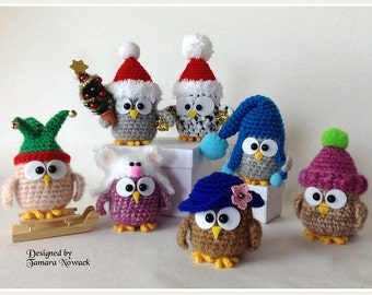 Owls in hats - amigurumi PDF ebook crochet pattern