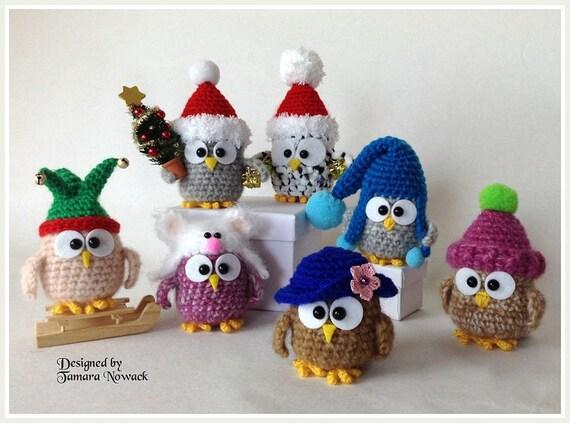 Owls in hats amigurumi PDF ebook crochet pattern