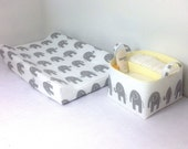 Changing Pad Cover Diaper Caddy Set, Contour Changing Pad. Stone Grey Elephant on White