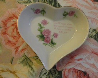 """VINTAGE (For Mother) Heart Shaped Dish 1970s white porcelain, pink rosees, gold trim (read vers in listing) """"Lefton"""" Lovely gift"""