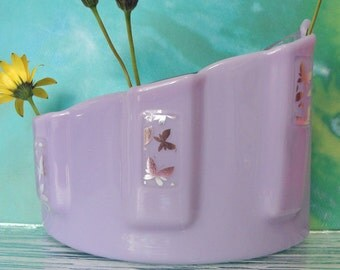 Fused Glass Table Vase Light Purple Silver Butterflies Art Glass Home Decor Flowers Art Bud Vase Gifts Under 75 Anniversary Gifts For Her