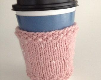 Pink Cup Cozy Hand Knit Coffee Tea Sleeve Hot Beverage Pink Tweed