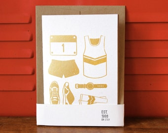 Silkscreen 4x6 card - Running Race Kit