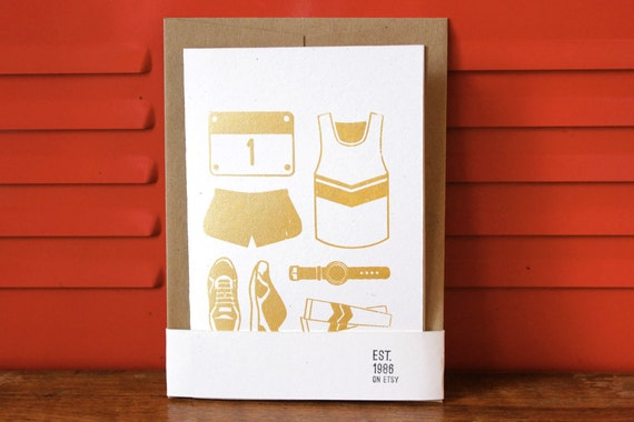 Simple Silkscreen 4x6 card - Running Race Kit