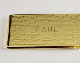 Custom Engraved Personalized Money Clip Gold Plated Diamond Pattern  - Hand Engraved