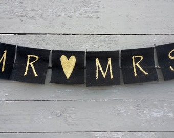 CLEARANCE SALE, Black and gold mr and mrs burlap wedding banner