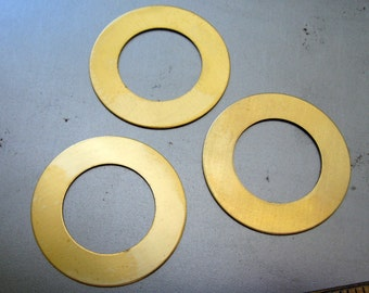 1 1/4 Inch Brass Washers, Round Stamping Blanks, Set of 4, Ready to Ship!