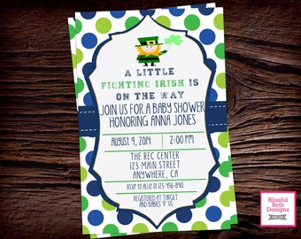 Fighting Irish Shower, ND Baby Shower Invitation, ND Baby Shower Invite, Fighting Irish Baby Shower