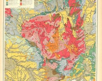 Vintage Map France Massif Central Geology  1930s