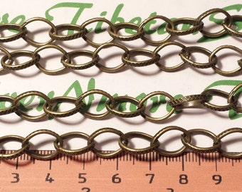 3 ft. per pack 10x14mm Oval Half Cut Textured Cable Chain Antique Bronze Finish Lead free Pewter