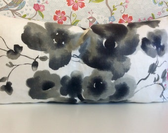 Accent RECTANGLE LUMBER cushion cover, Black White Grey & Beige FLOWER blossoms and stripes.  Fabric -Sanderson Mandarin Flowers and Ceylon