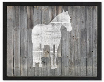 Rustic Western Horse Print, barnwood, western wall decor, horse silhouette, turquoise