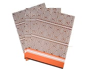 Tribal Geometric Blank Journals Set of Three 5 x 7 Craft Supplies Orange Brown
