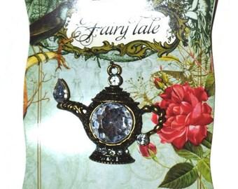 Alice In Wonderland Teapot Pendants Set of 2 Antique Brass Crystal Tea Pot Charms Craft Supplies Jewelry Supplies