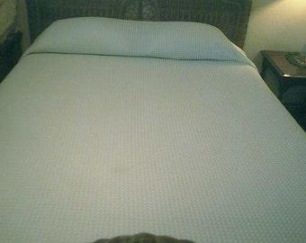 Sale - Morgan Jones Light AQUA with WHITE Pops Vintage Chenille Bedspread  - Free Shipping