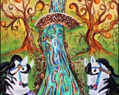beatles, Lucy in the sky diamonds, happiness, kaleidoscope eyes, tangerine trees, marmalade skies, rocking horse, art, painting, home decor
