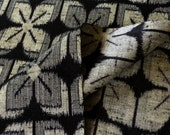 "Reserved for ""A""  ****     Wool - Navy and silvery bluish-gray ""geometric"" floral design - Vintage Japanese Kimono"