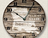 LOUISIANNA Home State Wall CLOCK  - Barn Boards pattern  - Pelican State - rustic cabin country wall home decor