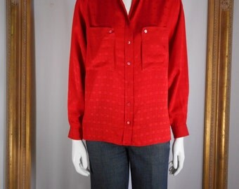 Vintage 1980's Gucci Red Silk Long Sleeve Blouse - Size 8