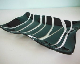 Black, Clear and White Fused Glass Wave Platter