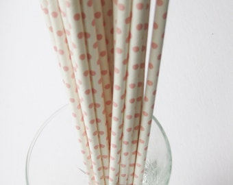 25 Paper White with Light Pink Polka Dot Drinking Straws - Free Printable Straw Flags