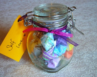 Small Latch Jar of Self Love Affirmation Stars