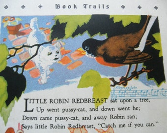 Vintage Childrens Book Plate Illustration Little Robin Redbreast Three Little Pigs Nursery Rhymes 30s Art Deco Ephemera Scrapbook Assemblage
