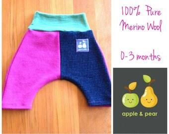 SALE Baby Yoga Pants. Pure Merino wool PInk Charcoal 0-3 Months wool pants baby