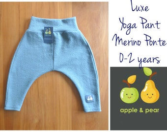 Merino Wool Ponte Yoga Pants. wool pants, toddler trousers, loungewear, made in new zealand. You pick size 0 to 2 years