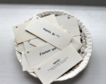 Vintage French Vocabulary Cards set of 25 cards