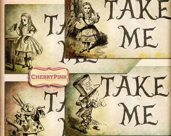 Alice in Wonderland Tags, Take Me Tags,  Alice party decoration, digital party printable
